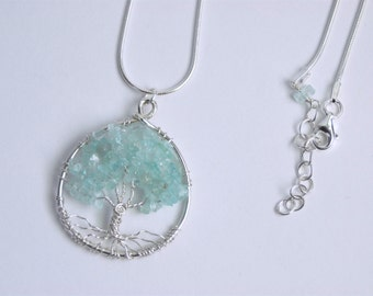 Sterling Silver Wire Wrapped Aquamarine Semi-Precious StoneTree of Life Necklace  Smooth Snake Chain