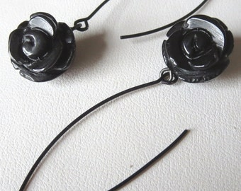Carved Black Onyx Rose Earrings with Long Black Earwires