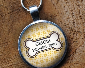Yellow patterned Pet iD Tag pastel colorful round Dog Tag 35mm round -  by California Mutts