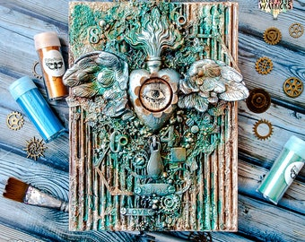 Home decor - mixed collage on canvas in Steampunk style