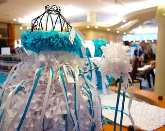 PuffScape 4ft Turquoise Aqua Blue Wedding FAVOR Wand Place Card Table DRESS Tissue Paper Flower Pom Puff Fairy Princess Quinceanera Sweet 16