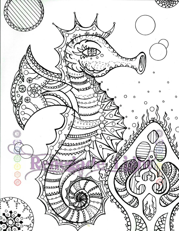 Zentangle Seepferdchen Seepferdchen Färbung Seite Seahorse