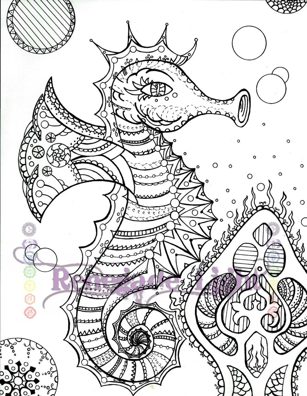 Zentangle Seahorse Seahorse coloring page Seahorse