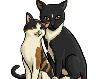 Custom Cartoon Pet Portrait: Two Comic Style Pet or Animal Caricatures (Digital File)
