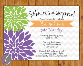 Floral Surprise Fall Birthday Invite Orchid Purple Lime Green Flowers Tangerine Party Printable 30th 50th Invitation 5x7 Digital JPG (320)