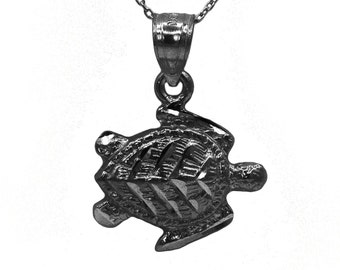 10k Black Gold Turtle Necklace