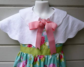 Girls Vintage Style Scalloped Capelet with Ribbon Bow by Custom Order in Sizes 2T through 10