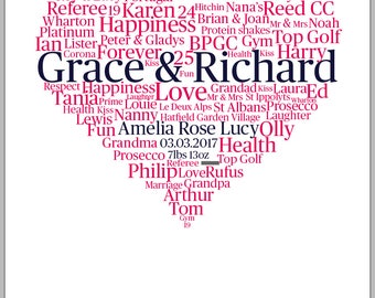Word art heart print - totally personalised - you supply the words!