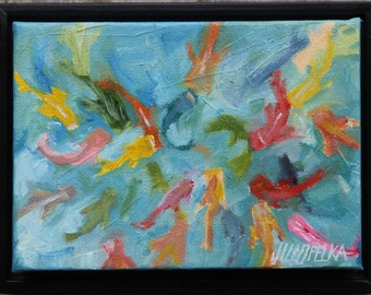 "Koi Fish Painting Original Oil Painting By Jill Opelka 5"" x7"" Framed Artwork Fish and Water Nature Painting"
