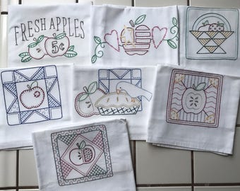 Set of 7 Hand Embroidered Kitchen Towels with Apple Patchwork theme. Flour sack Tea towels. Days of the week.