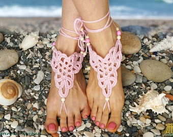 Barefoot Sandals Beach Party Foot Accessory Crochet Decoration Footless Jewelry Coral Pink Flower Boho Romantic - Ready to ship!