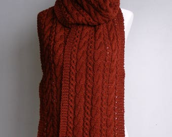 Pure Wool Cable & Eyelet Hand Knitted Scarf - 'Katerina' - choose your colour.