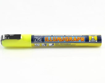 YELLOW CHALK PAINT Marker - Zig Illumigraph Yellow Glow Wipe Off Paint Marker for Chalk Boards and Windows (14.2cm)