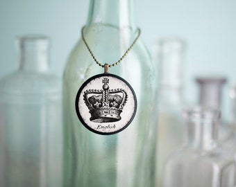 English Crown Necklace, vintage inspired decoupage pendant