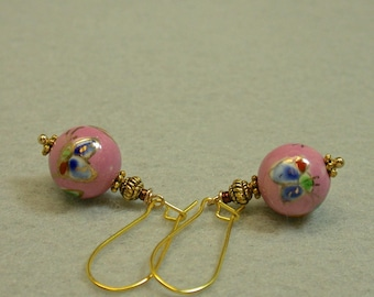 Vintage Chinese Butterfly Porcelain Pink Bead Dangle Drop Earrings, Gold Kidney Ear Wires
