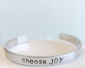 choose joy Hand Stamped Bracelet cuff hypoallergenic aluminum gifts for her inspirational encouraging