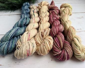 Christmas Mini skeins,  Sock Yarn, 100% superwash BFL, 87 yards/80 meters each, tonals and speckled yarn