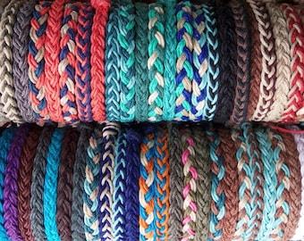 1 Braided HEMP BRACELET -  Choose Your own Colors - Hippie Surfer Braided Hemp Bracelet for Men or Women