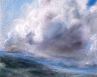 Cloud painting metal print of pastel Ireland landscape art in baby & sky blue, purple, green, white by Kauai, Hawaii fine artist Donia Lilly