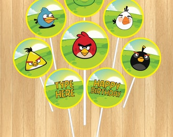 INSTANT DOWNLOAD - EDITABLE Angry Birds Cupcake Topper
