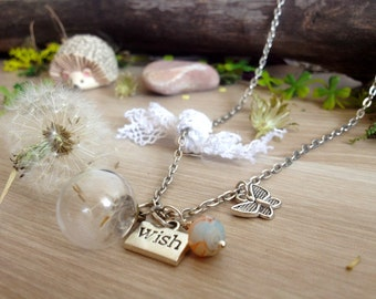 Dandelion wish necklace, dandelion globe pendant, terrarium necklace, make a wish necklace, freedom boho jewelry lucky charm, gift for bride