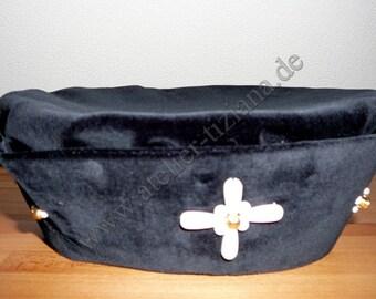 15th century precious medieval renaissance hat beret beads Velvet Black XL