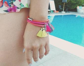 Boho Tassel Bracelet, Colorful Leather Cuff Bracelet, Stacking Bracelets