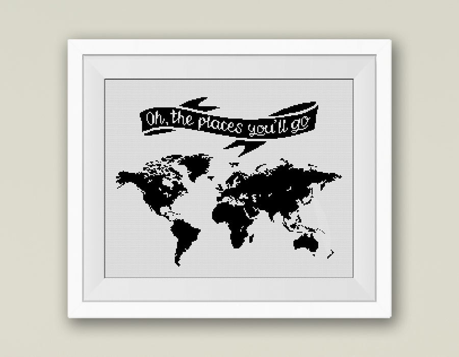 Bogo free world map cross stitch pattern oh the places youll go this is a digital file gumiabroncs Images