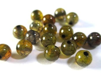 30 beads color brown/green 4mm (G-04) dragon vein crackled agate
