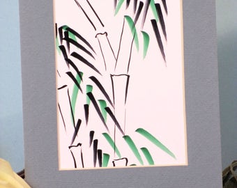 Bamboo  ink painting small format art