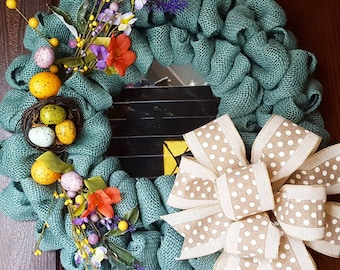 Spring Wreath, Easter Wreath, Floral Wreath, Easter Eggs, Spring, Easter, Burlap Spring Wreath, Turquoise, Nest Wreath, Blue Wreath, Bows