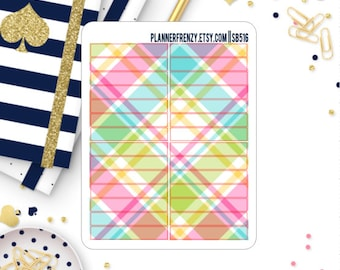 Spring Plaid Section Header Planner Stickers! SB516