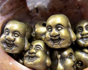 12 Buddha head beads bronze mala jewelry laughing buddha reversible happy buddha mediration beads HP766-(BB6),