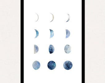 24x36 Poster Size Moon Phases (Blue) Printable Art