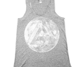 impossible triangle tank top, moon tank top, optical illusiotn tank, tanks, heather grey tank top, Small, Medium, Large, XL, 2X