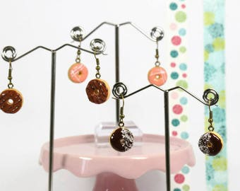 Donut Earrings with chocolate and balls decoration