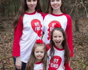 Best Friend Shirts Valentine -or not- Heart Raglan Baseball Style T Shirt Coordinating Family set for sisters, brothers, friends or lovers!