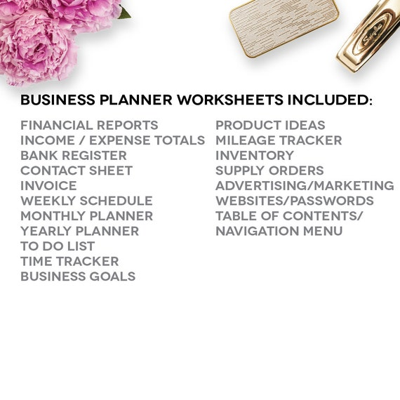 Home Business Planner 2018 2019 Excel Spreadsheet Etsy