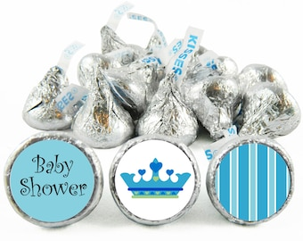 Set of 108 - Prince Boy Baby Shower Stickers for Hershey's Kisses. Prince Baby Shower Favors - Prince Kiss Stickers - #IDBBS608