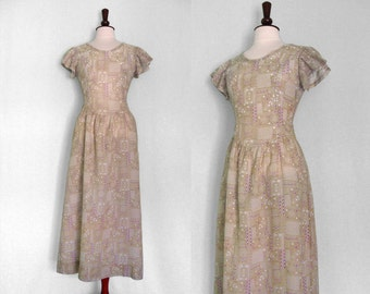 Vintage 1970s printed voile maxi dress handmade from Betsey Johnson pattern