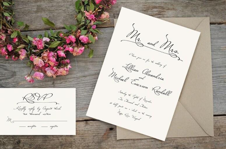 Simple Vintage Wedding Invitations: Old World Romantic Calligraphy Wedding Invitations Classic