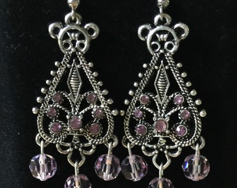 Handmade Light Amethyst Swarovski Chandelier Earrings