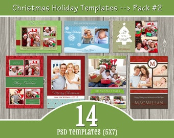 INSTANT DOWNLOAD - 14 Holiday Card Templates - PSD Christmas Templates