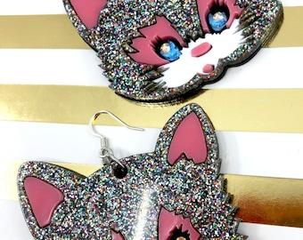 Big Glitter Cat Earrings, Large Acrylic Earrings, Kitty Earrings, Cat Face, Cat Dangle Earrings, Oversize Earrings, Kawaii Cat Harajuku