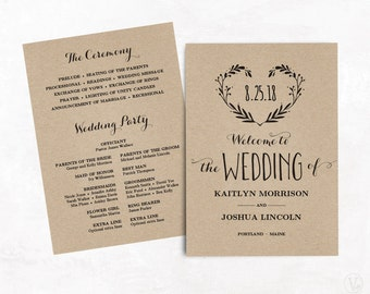 Wedding Program Template, Printable Wedding Programs, Kraft Paper Program, INSTANT DOWNLOAD, Editable Text, 5x7, Heart Wreath VW08