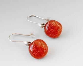 Sunset Orange Dichoric Glass  Earrings, Fused Glass Earrings, Tangerine Dichroic Drops, Orange Glass Earrings, Dichroic Earrings