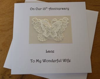 13th anniversary card lace wedding anniversary 13 years marriage Husband Wife