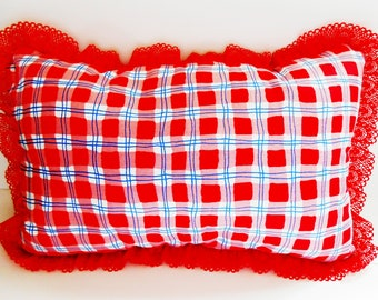 Red checked lace Pillow/ Handmade red checked pillow/ red checked pillow/ Country pillows/  Decorative pillows/