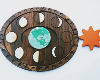 Moon phases puzzle - moon decor - Moon Calendar - Moon phases