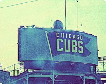 Chicago Photography, Wrigley Field photo, Chicago Cubs baseball, Chicago Photo, Chicago Art, Chicago Sports, vintage sign, blue, mint, men